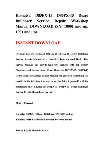 download komatsu bulldozer d85ex 15 d85px 15 service repair workshop manual