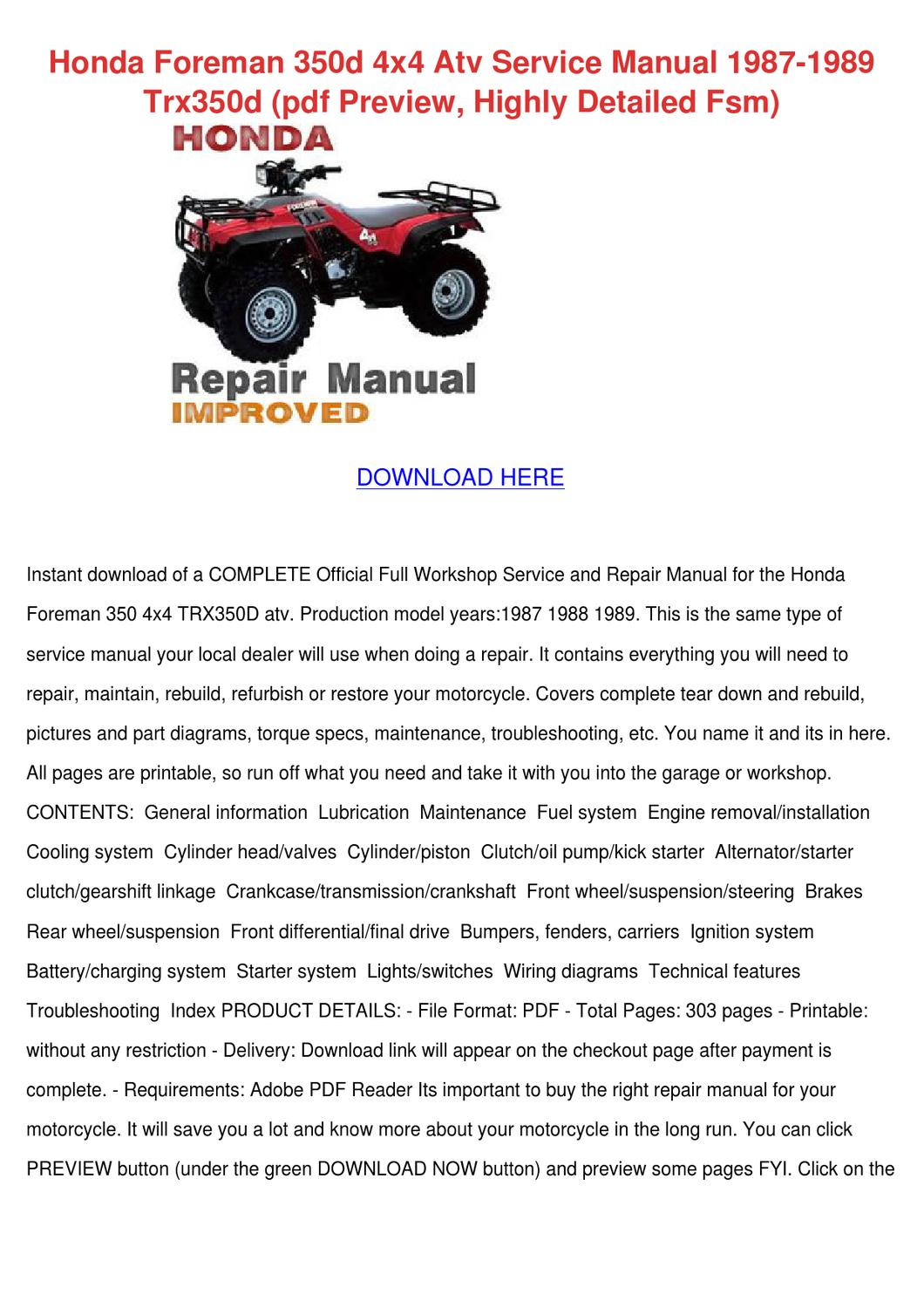 Honda Foreman 350d 4x4 Atv Service Manual 198 by LutherLaw - issuu