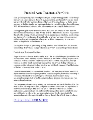Practical acne treatments for girls by Acne Cure - issuu