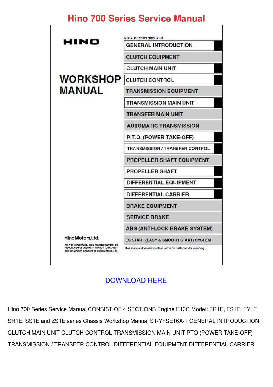Hino 700 Series Service Manual by GloriaFair - issuu