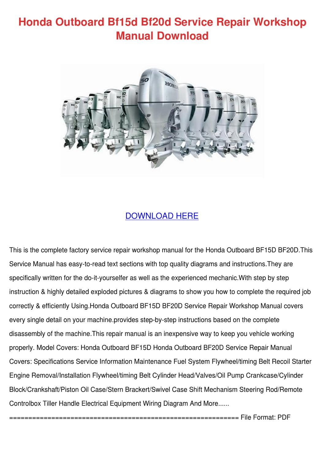 honda outboard bf15d bf20d service repair wor by alvawatson issuu rh issuu com Service ManualsOnline Owner's Manual