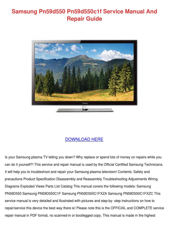 Samsung Pn59d550 Pn59d550c1f Service Manual A By Brigittebarney