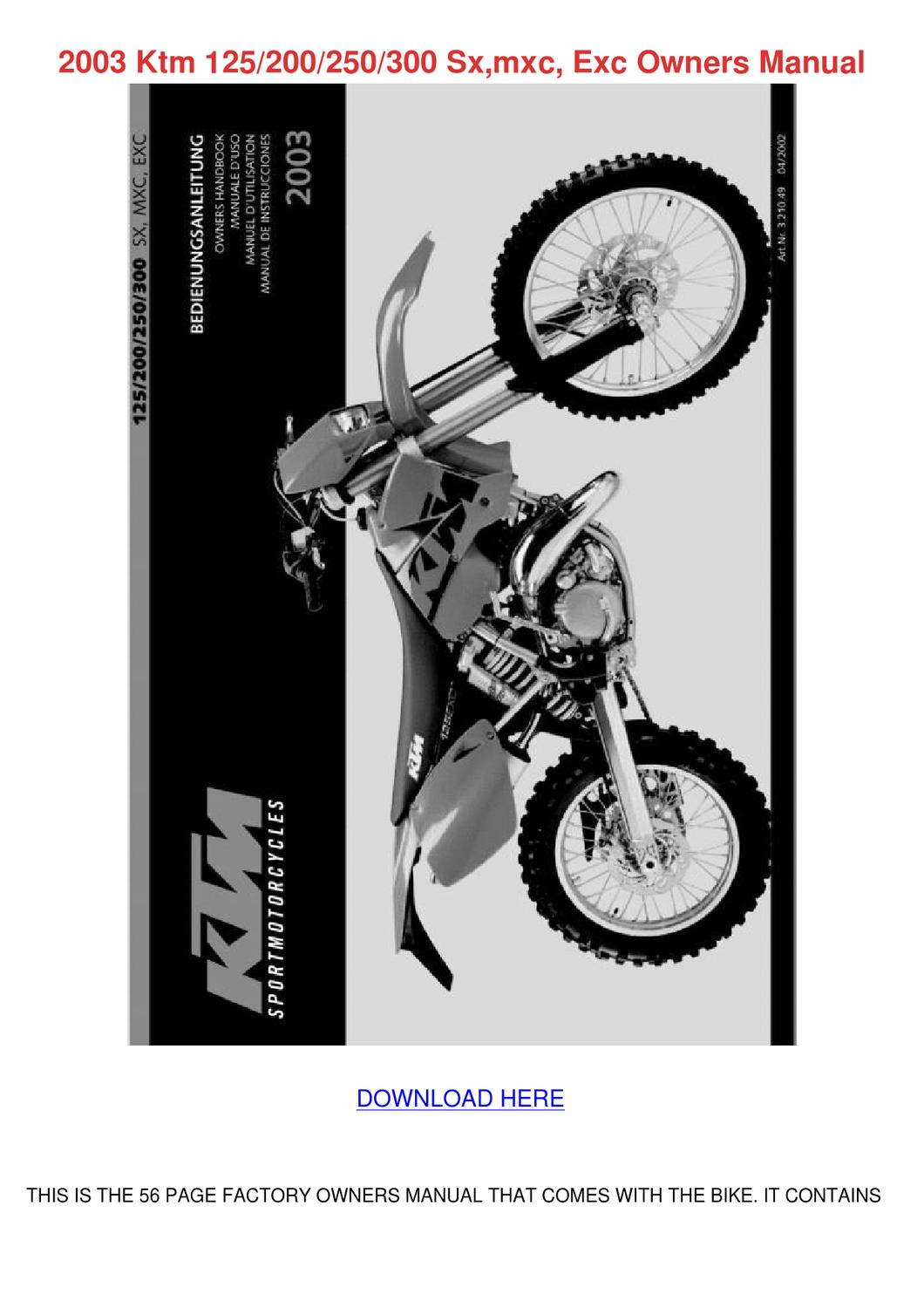 2003 Ktm 125200250300 Sxmxc Exc Owners Manual by KyleIngraham - issuu