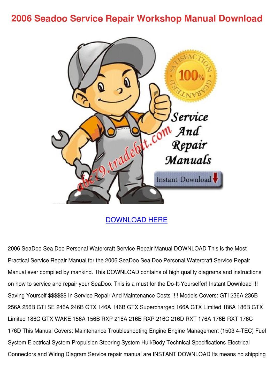 2006 Seadoo Service Repair Workshop Manual Do By