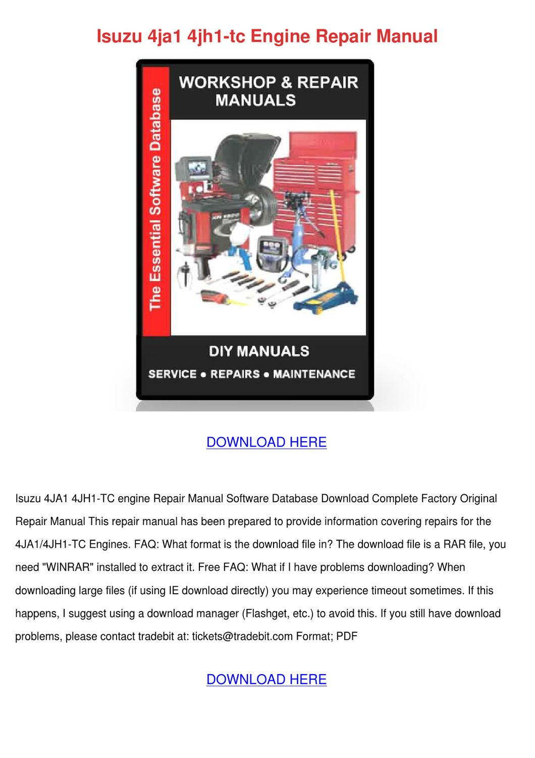 Isuzu 4jh1 Repair Manual