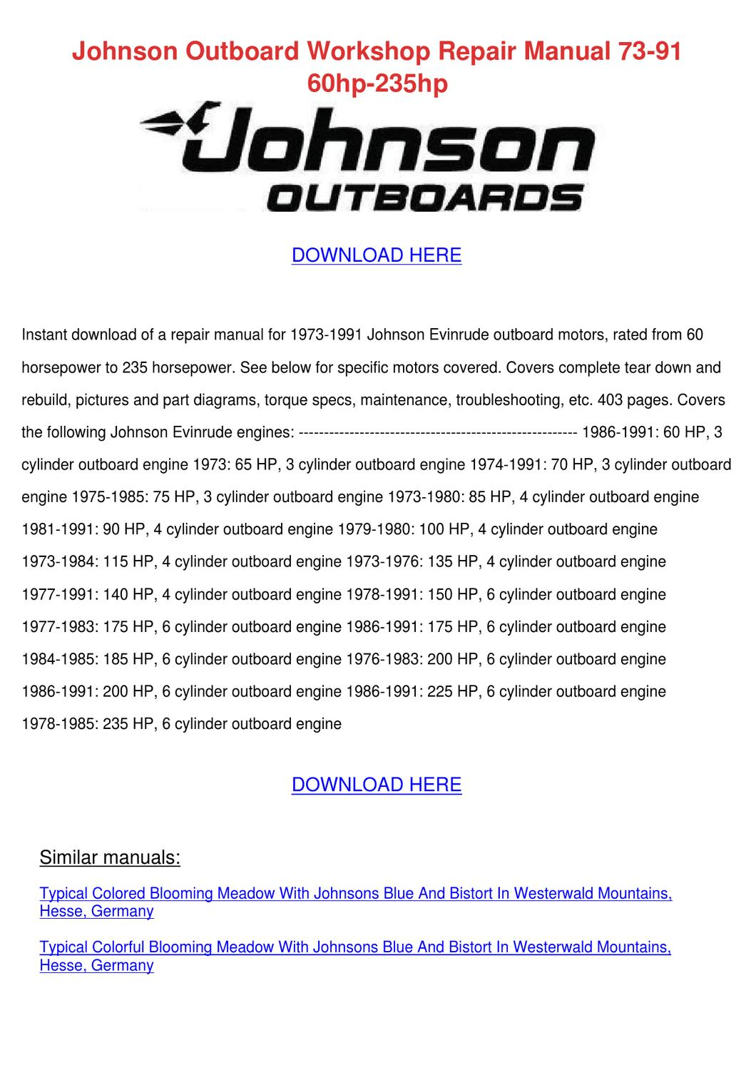 Johnson Outboard Workshop Repair Manual 73 91 By Beckyweatherford Issuu