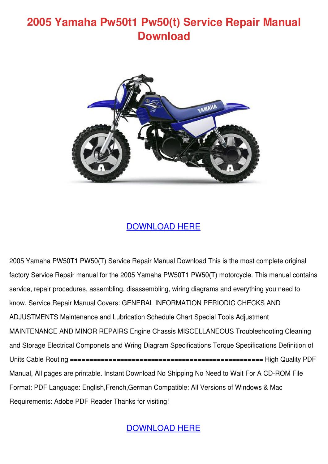 2005 Yamaha Pw50t1 Pw50t Service Repair Manua By