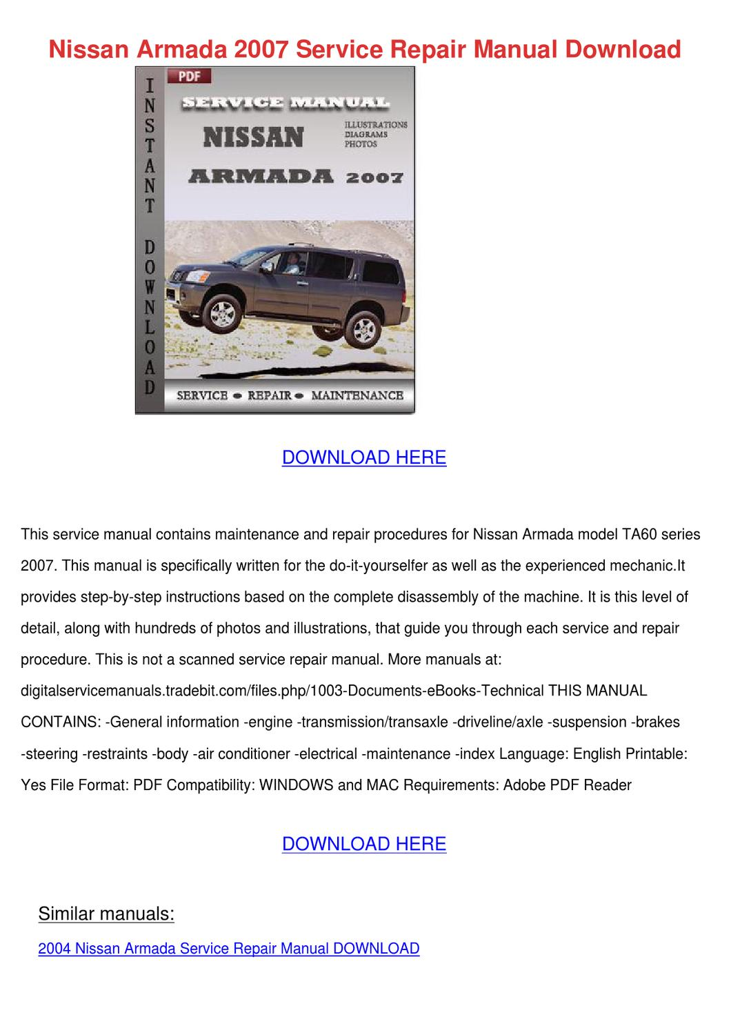 nissan armada 2007 service repair manual down by. Black Bedroom Furniture Sets. Home Design Ideas