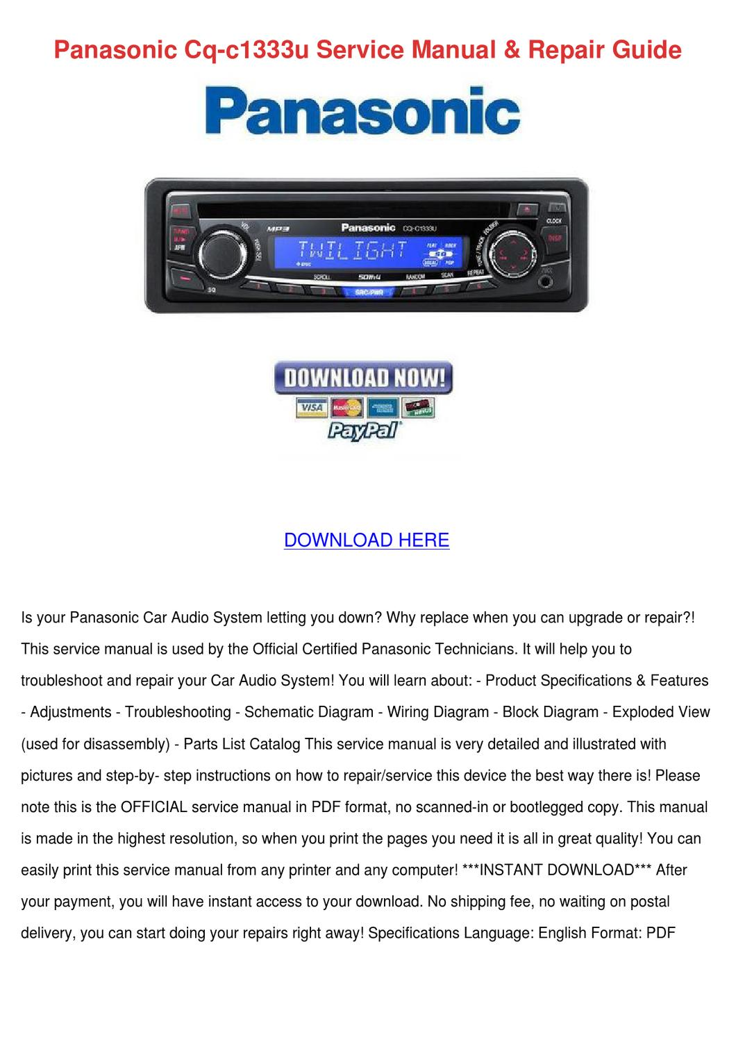 Wiring diagram panasonic cq c u car radio
