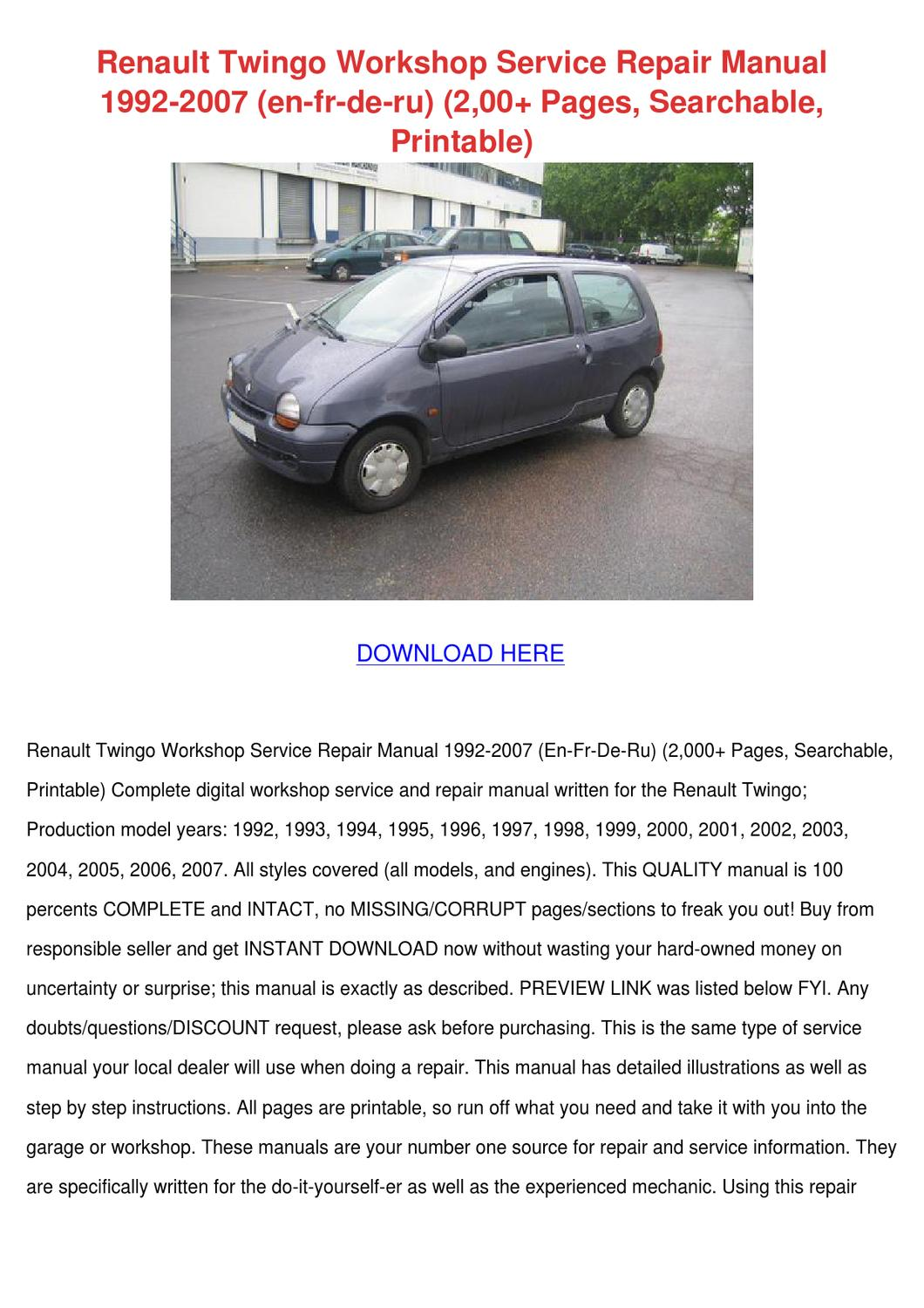 renault twingo workshop service repair manual by lakeishajeffers issuu rh issuu com Renault Twingo Interior 2016 Renault Twingo