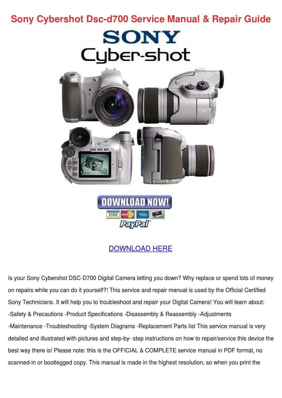Sony Cybershot Dsc D700 Service Manual Repair By