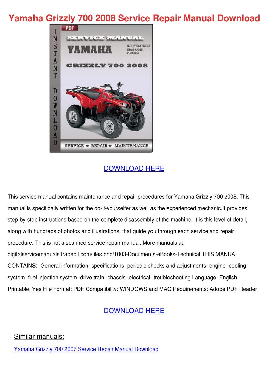 08 yamaha grizzly 700 service Manual