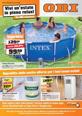 Obi volantino 27 giugno 14 luglio 2013 by for Offerte piscine fuori terra