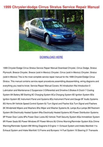 1999 Chryslerdodge Cirrus Stratus Service Rep by MoniqueMilton - issuu
