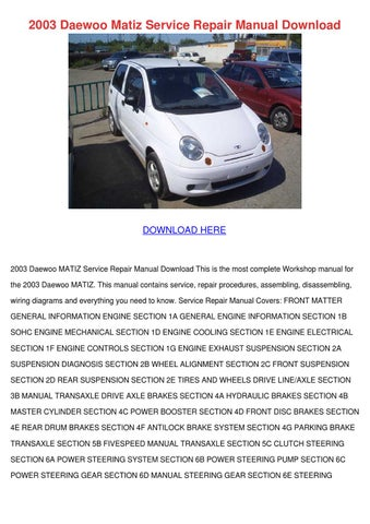 chevrolet matiz workshop manual download