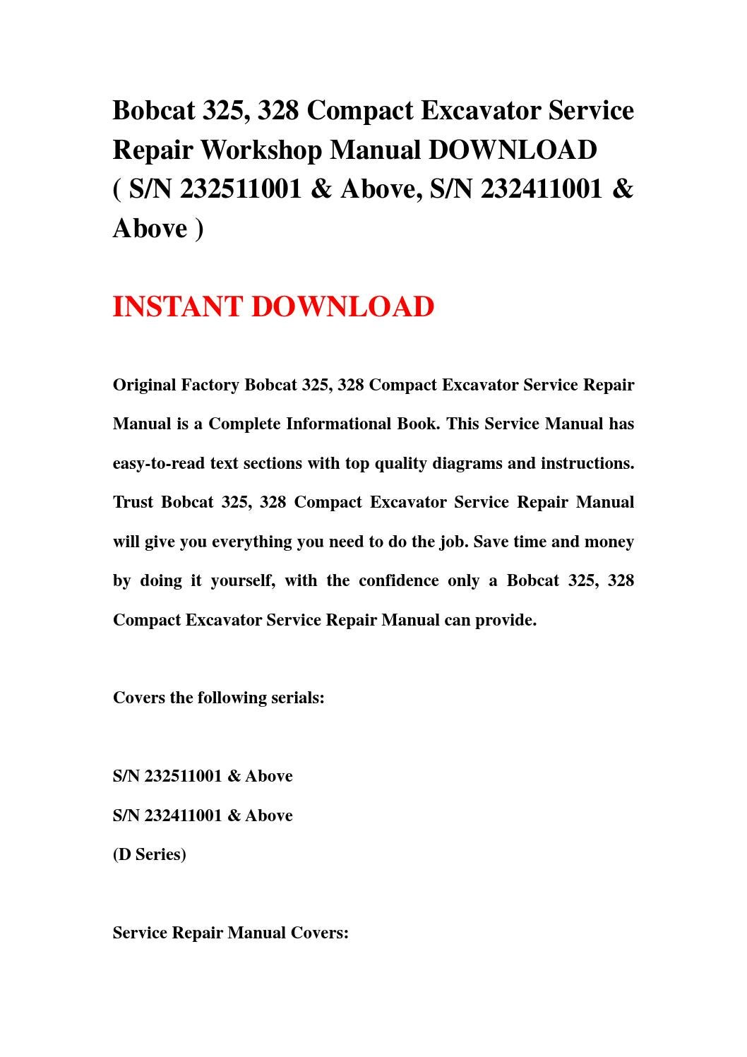 Bobcat 325, 328 compact excavator service repair workshop manual download  by hsfgbsehb - issuu