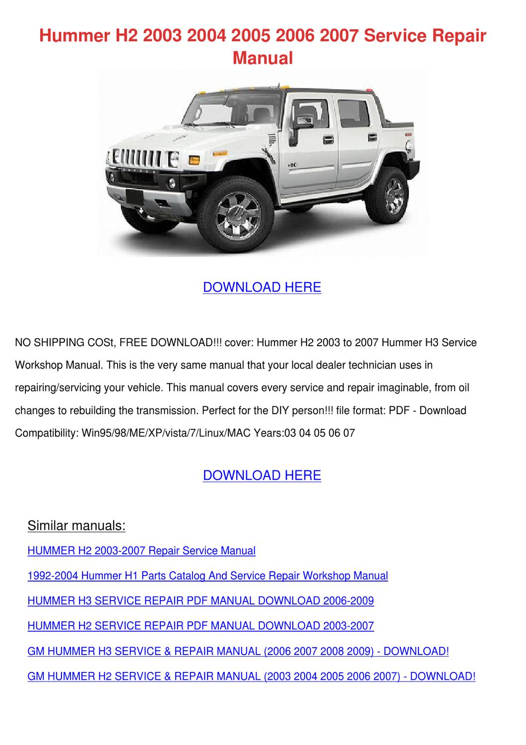 hummer h2 2003 2004 2005 2006 2007 service re by keirahodge - issuu
