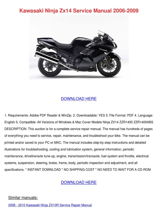 Kawasaki Ninja Zx14 Service Manual 2006 2009 by ArleneAdam - issuu