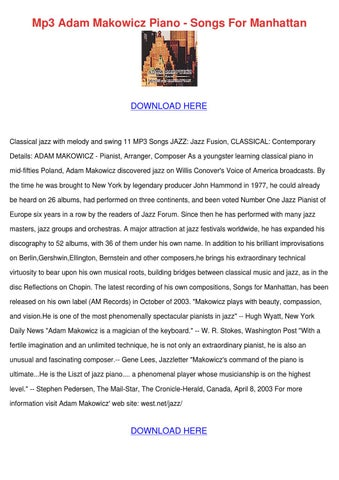 Mp3 Adam Makowicz Piano Songs For Manhattan by KeiraHodge - issuu