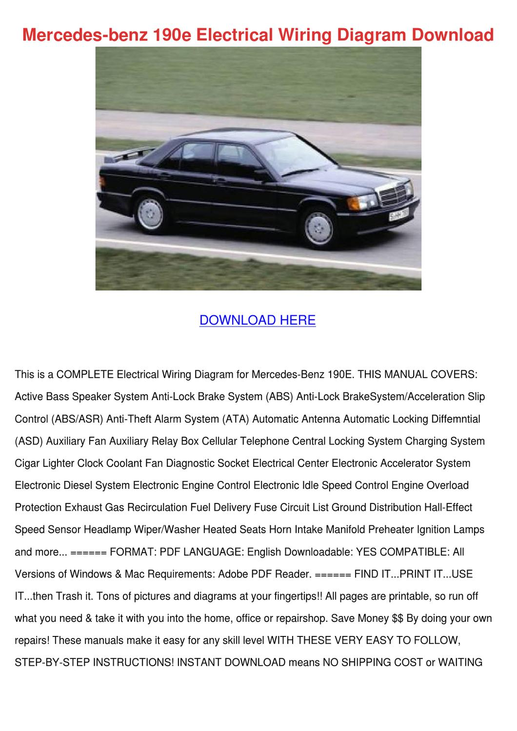 Mercedes Benz 190e Electrical Wiring Diagram By Arleneadam