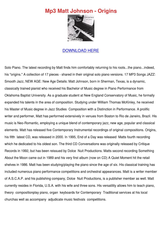 Mp3 Matt Johnson Origins by RaleighOtis - issuu