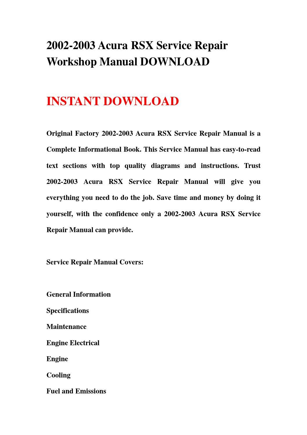 2002 2003 acura rsx service repair workshop manual download by hgbhsefnj -  issuu