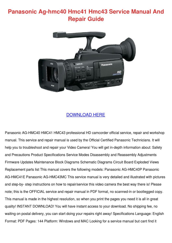 Panasonic Ag Hmc40 Hmc41 Hmc43 Service Manual by ChristyBrackett ...