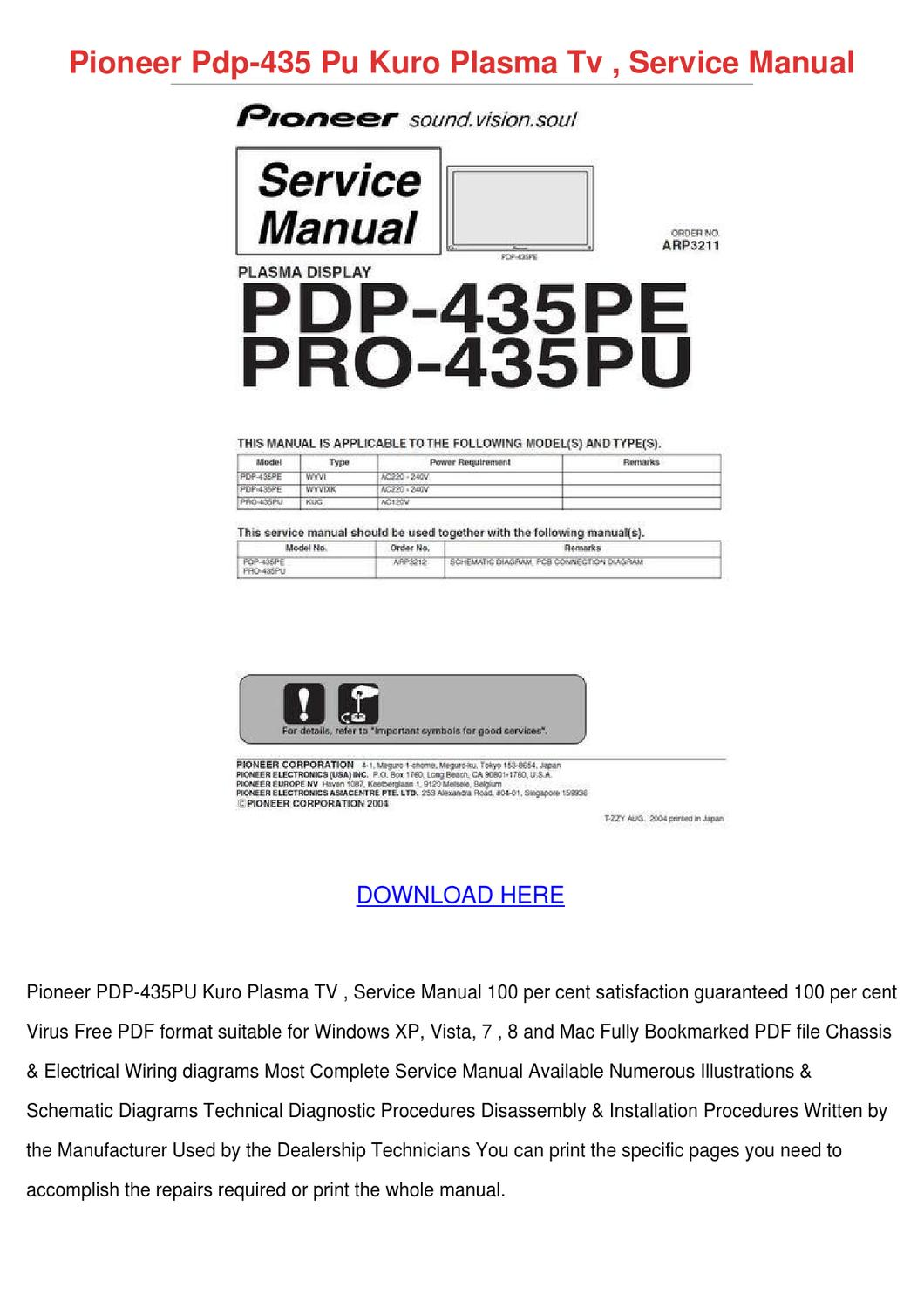 Pioneer Pdp 435 Pu Kuro Plasma Tv Service Man By Christybrackett Issuu European Wiring Diagram Symbols