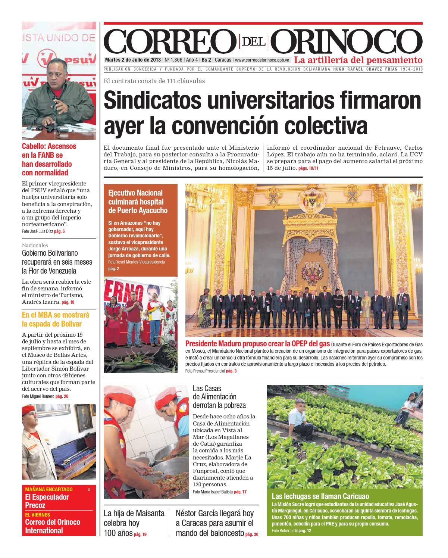 Edición Nº 1366 by Correo del Orinoco - issuu