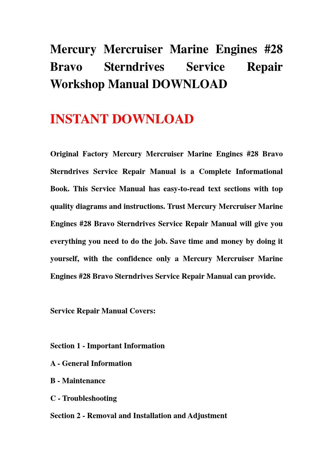 Mercury mercruiser marine engines #28 bravo sterndrives service repair  workshop manual download by hgsehfbe - issuu