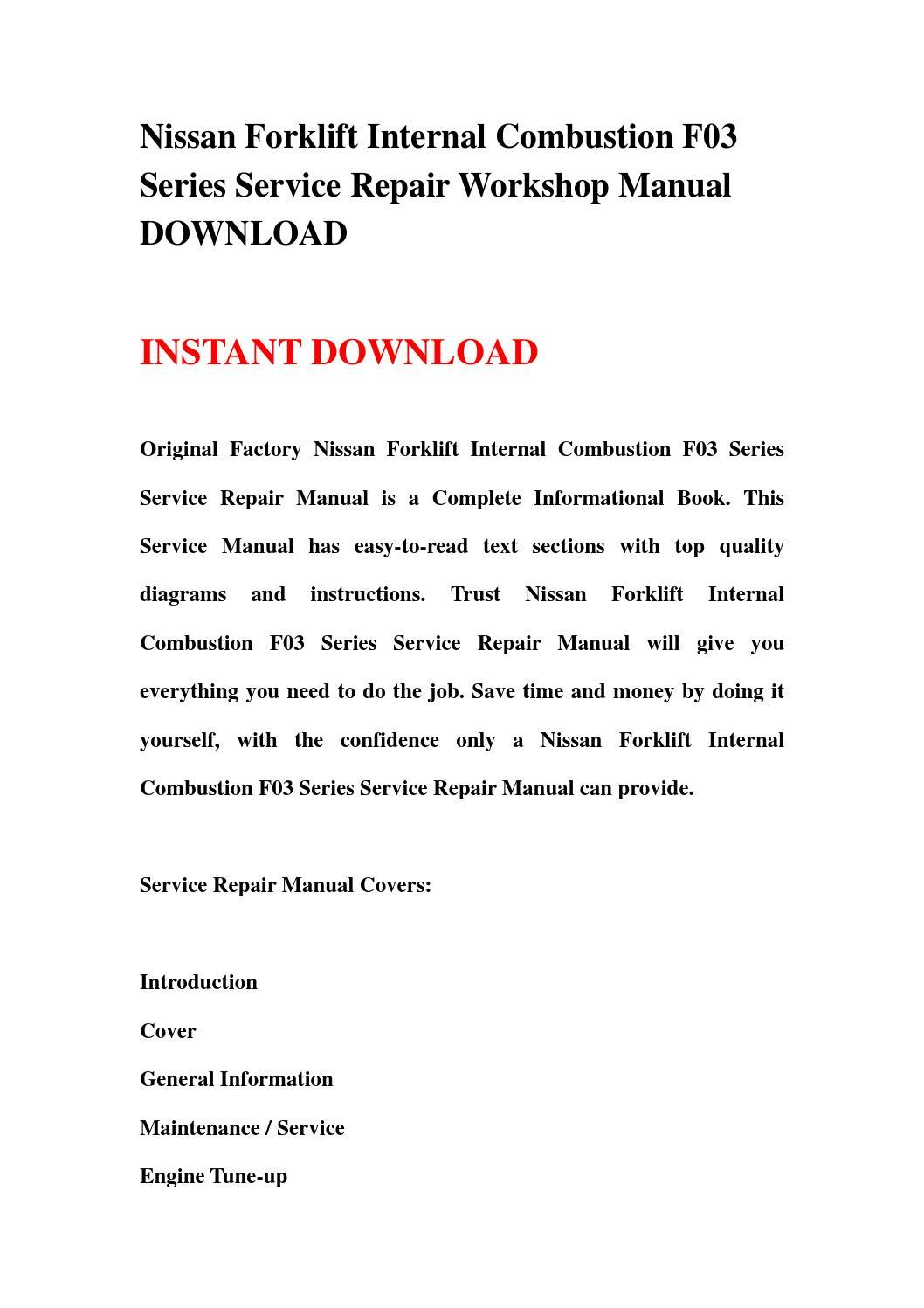 nissan forklift internal combustion f03 series service