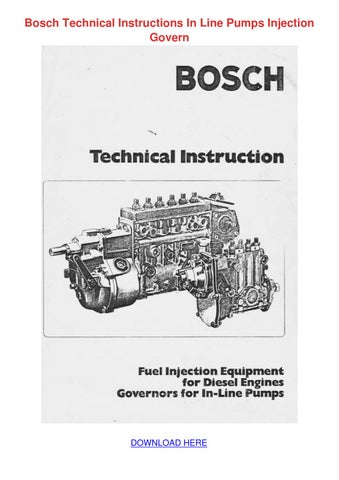 Bosch Technical Instructions In Line Pumps In By Raphaelpearl Issuu