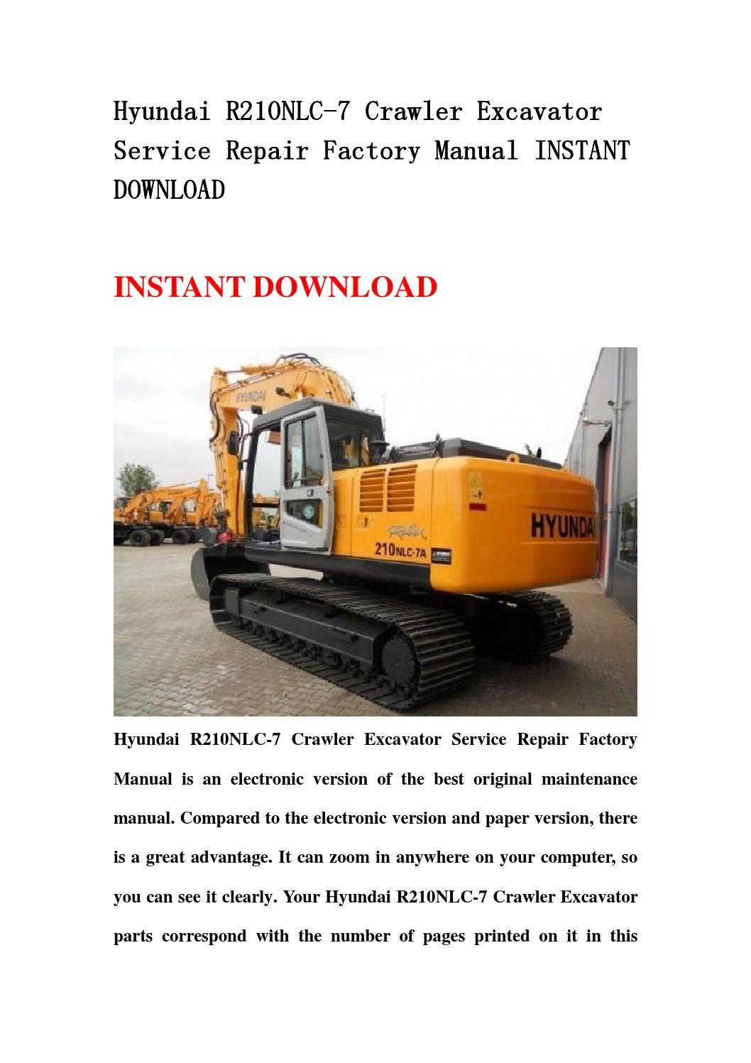 hyundai r210nlc 7 crawler excavator service repair factory