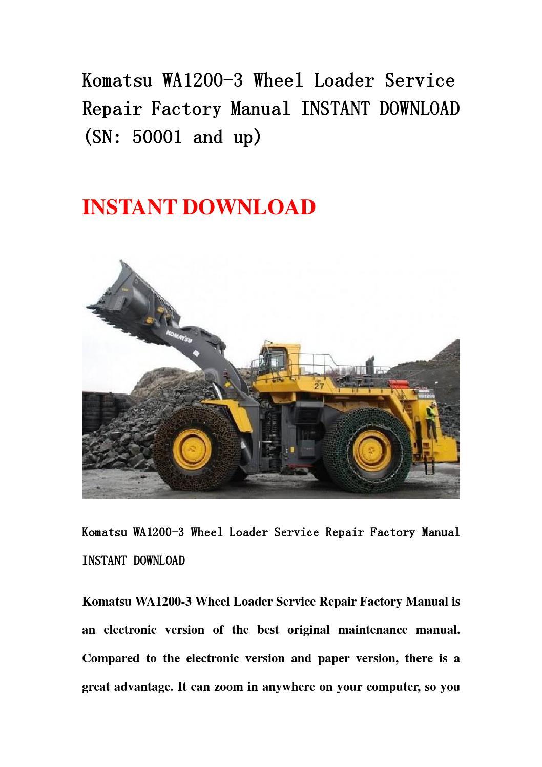 komatsu wa1200 6 wheel loader service repair factory. Black Bedroom Furniture Sets. Home Design Ideas
