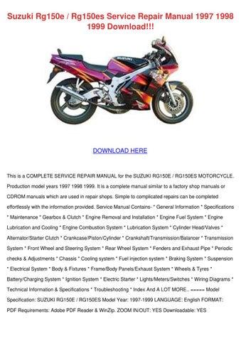 Suzuki Rg150e Rg150es Service Repair Manual 1 By Kristianhuntington Issuu