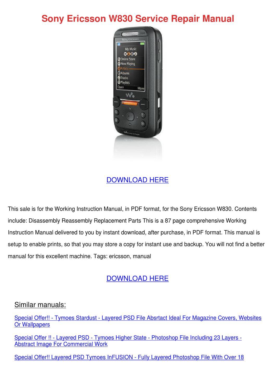 Sony Ericsson W830 Service Repair Manual by TarahShockley - issuu