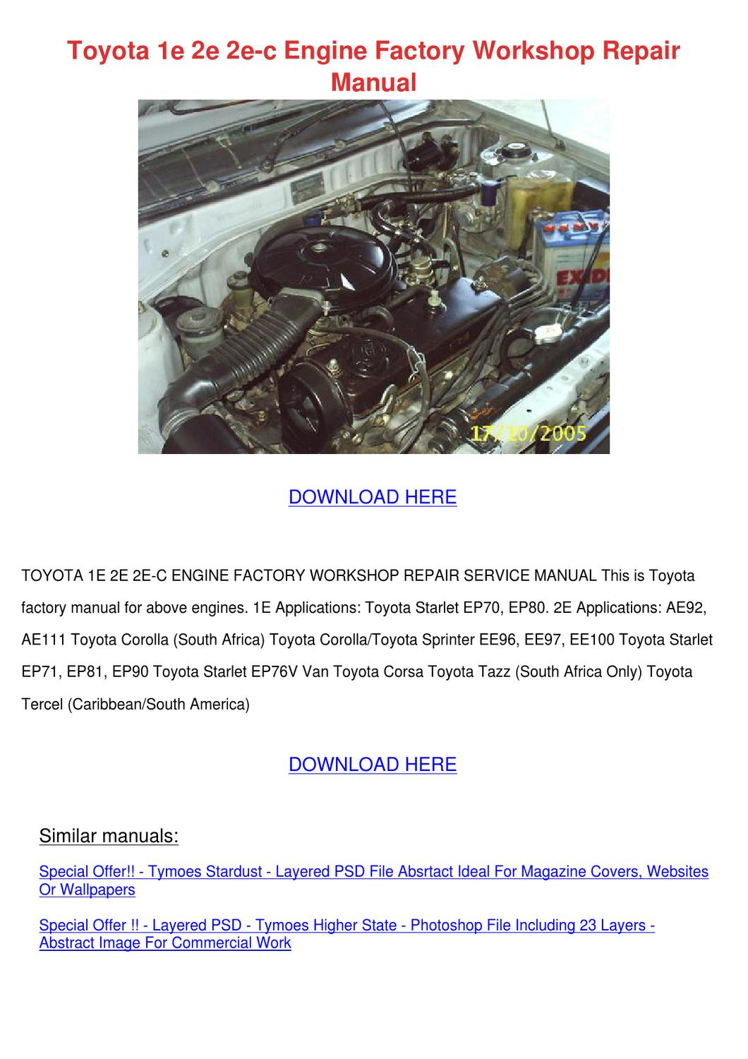 Toyota 1e 2e 2e C Engine Factory Workshop Rep by KristianHuntington - issuu