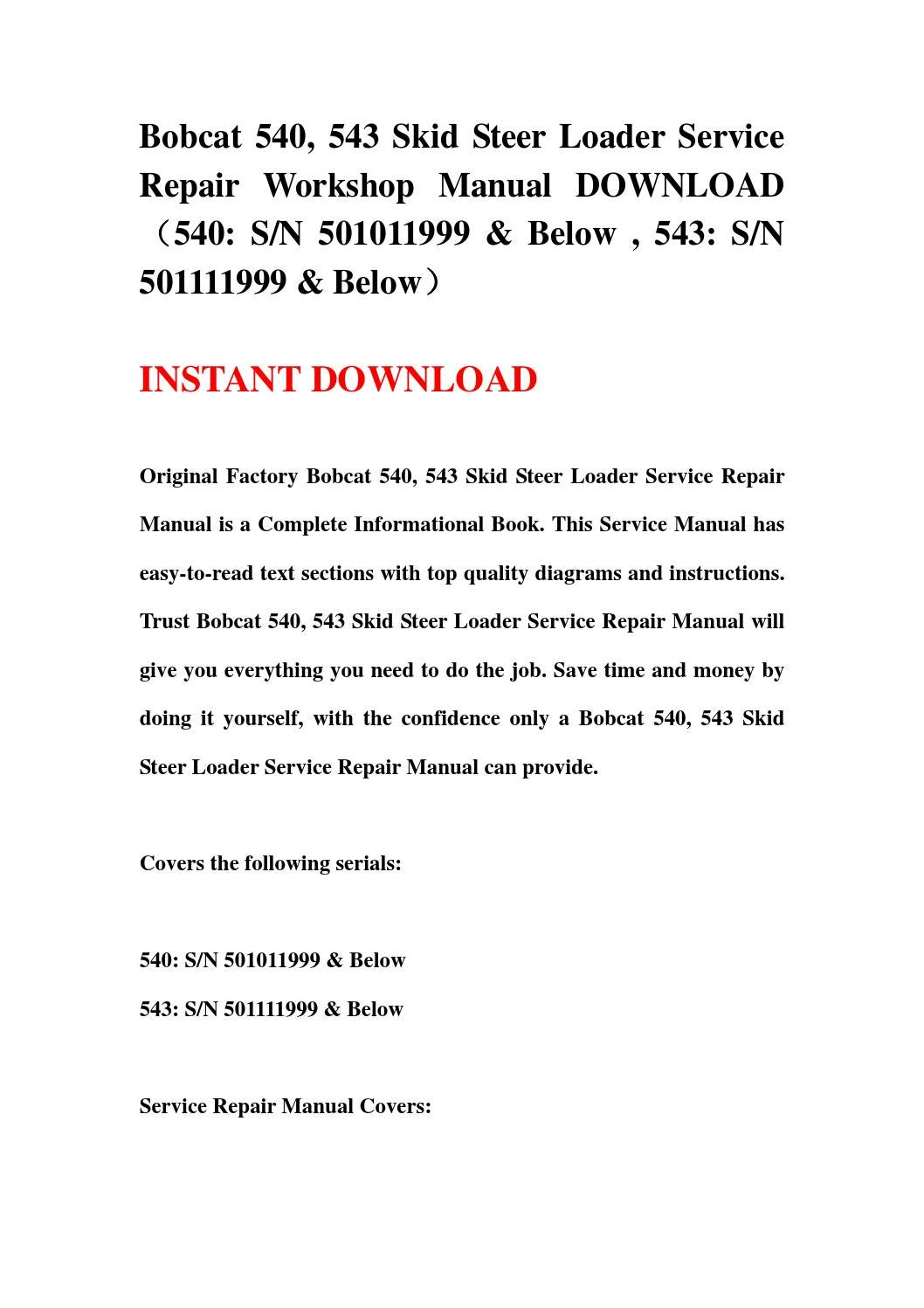 Bobcat 540 543 Skid Steer Loader Service Repair Workshop Manual Download Sn 501011999 Below