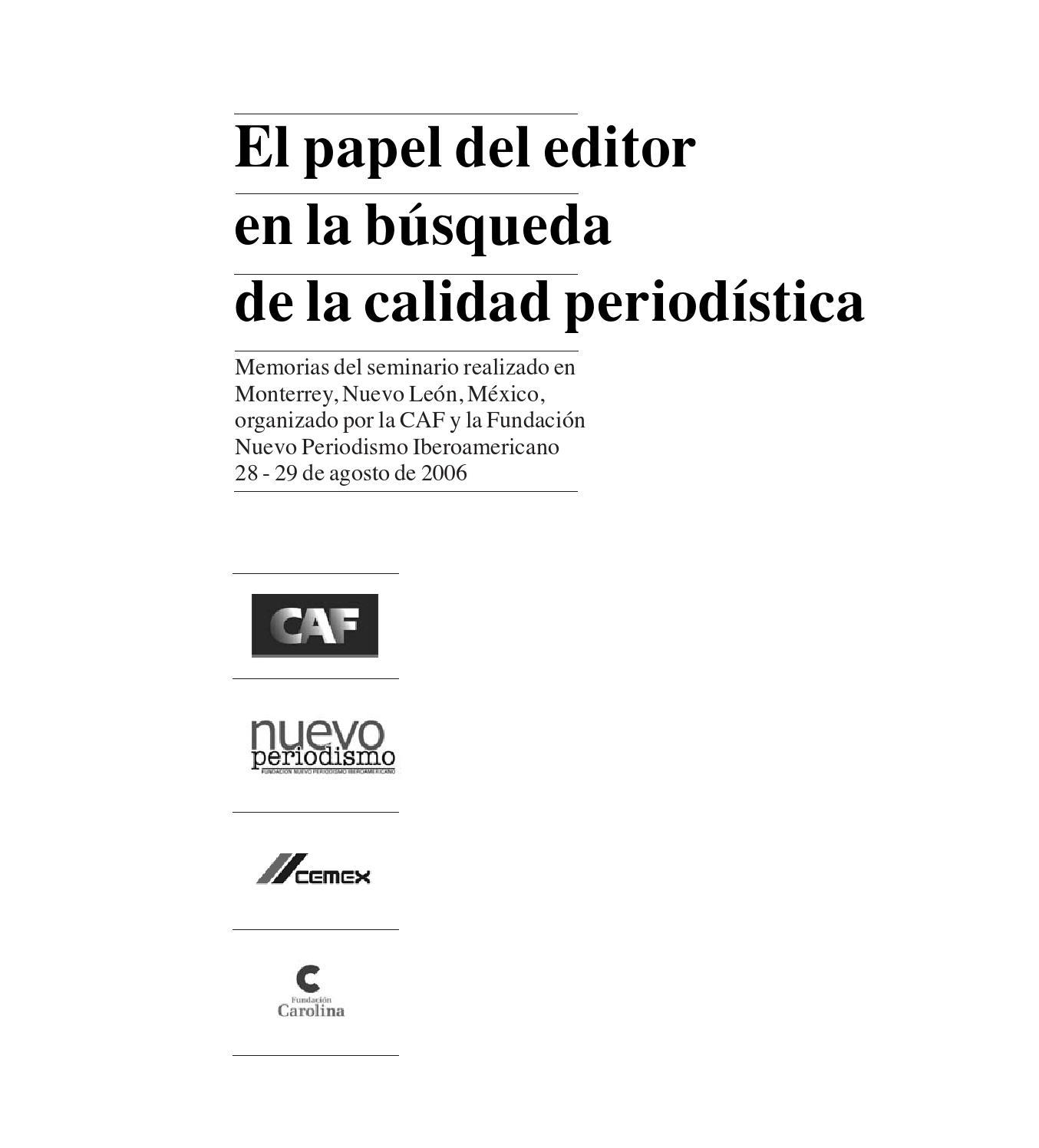 El papel del editor en la búsqueda de la calidad periodística by ...