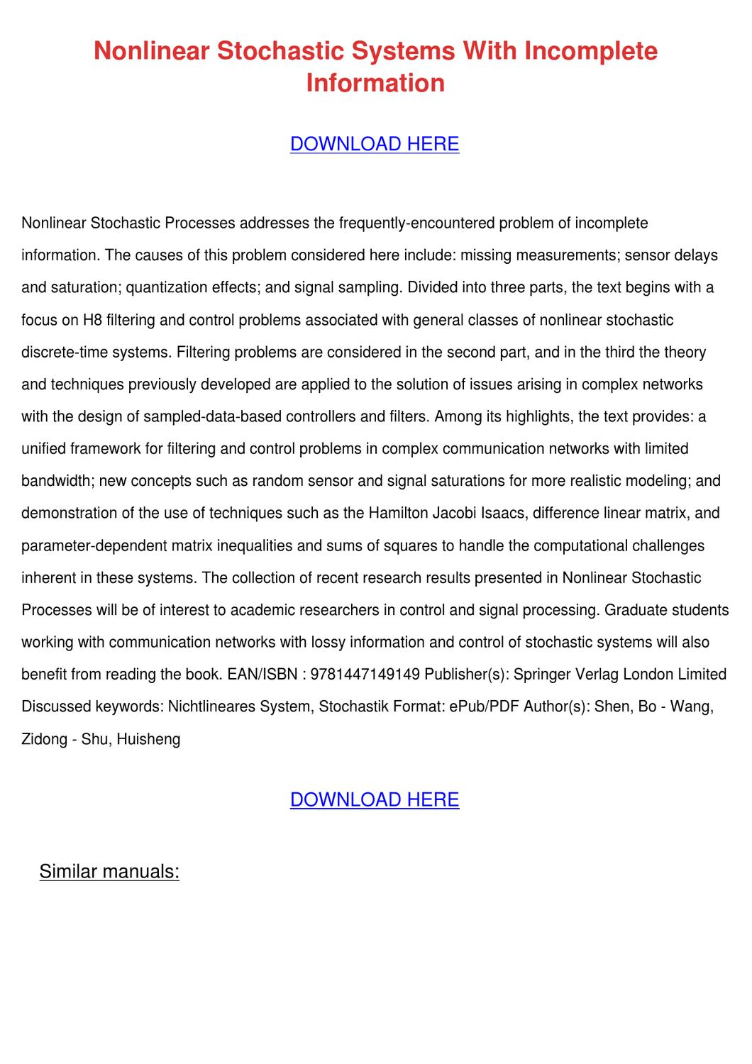 Nonlinear Stochastic Systems with Incomplete Information: Filtering and Control