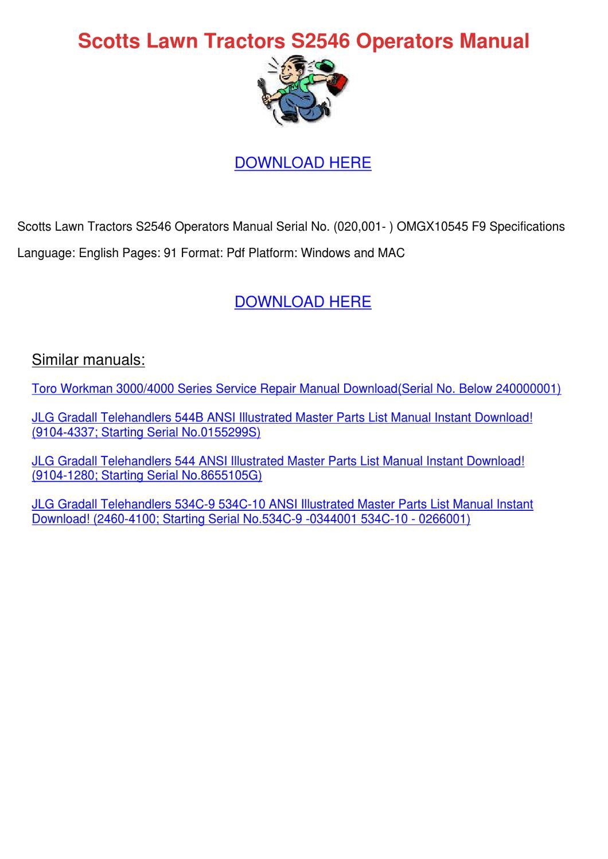 Scotts Lawn Tractors S2546 Operators Manual By