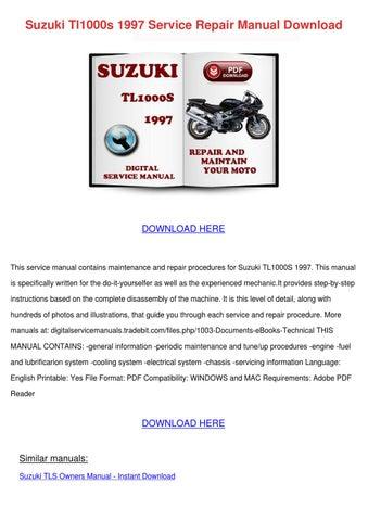 suzuki tl1000s 1997 service repair manual dow by. Black Bedroom Furniture Sets. Home Design Ideas