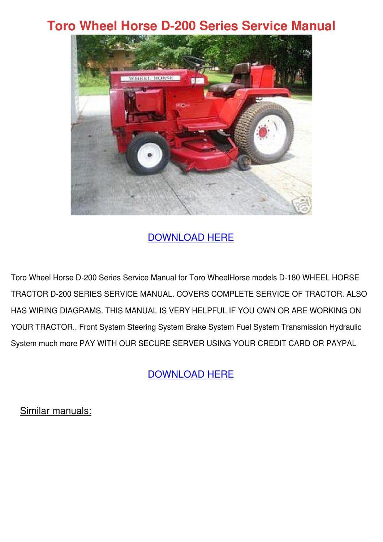 toro wheel horse d 200 series service manual by. Black Bedroom Furniture Sets. Home Design Ideas