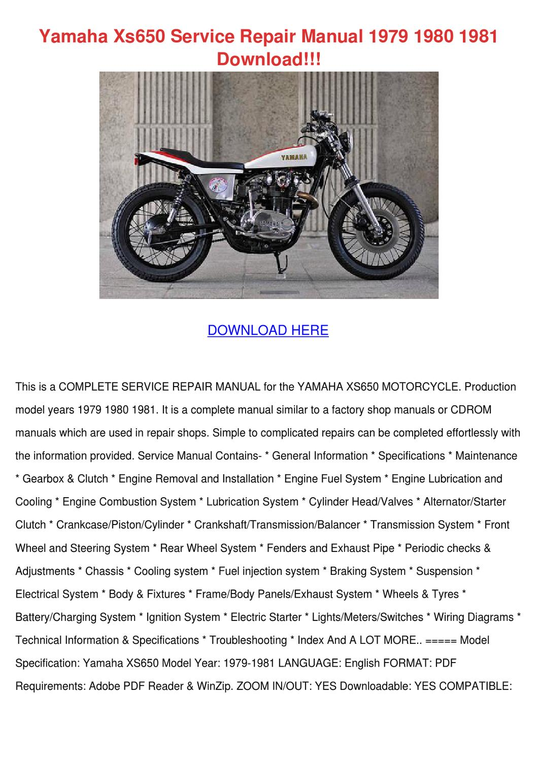 Yamaha Xs650 Service Repair Manual 1979 1980 By Alissaweldon Issuu Simple Wiring Diagram Electronic Ignition