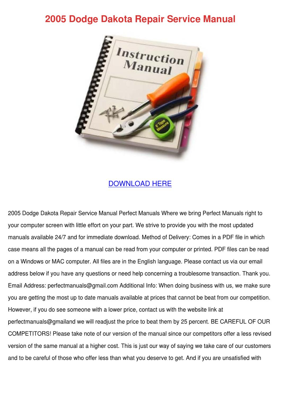 2005 Dodge Dakota Repair Service Manual by KatlynJacobsen - issuu