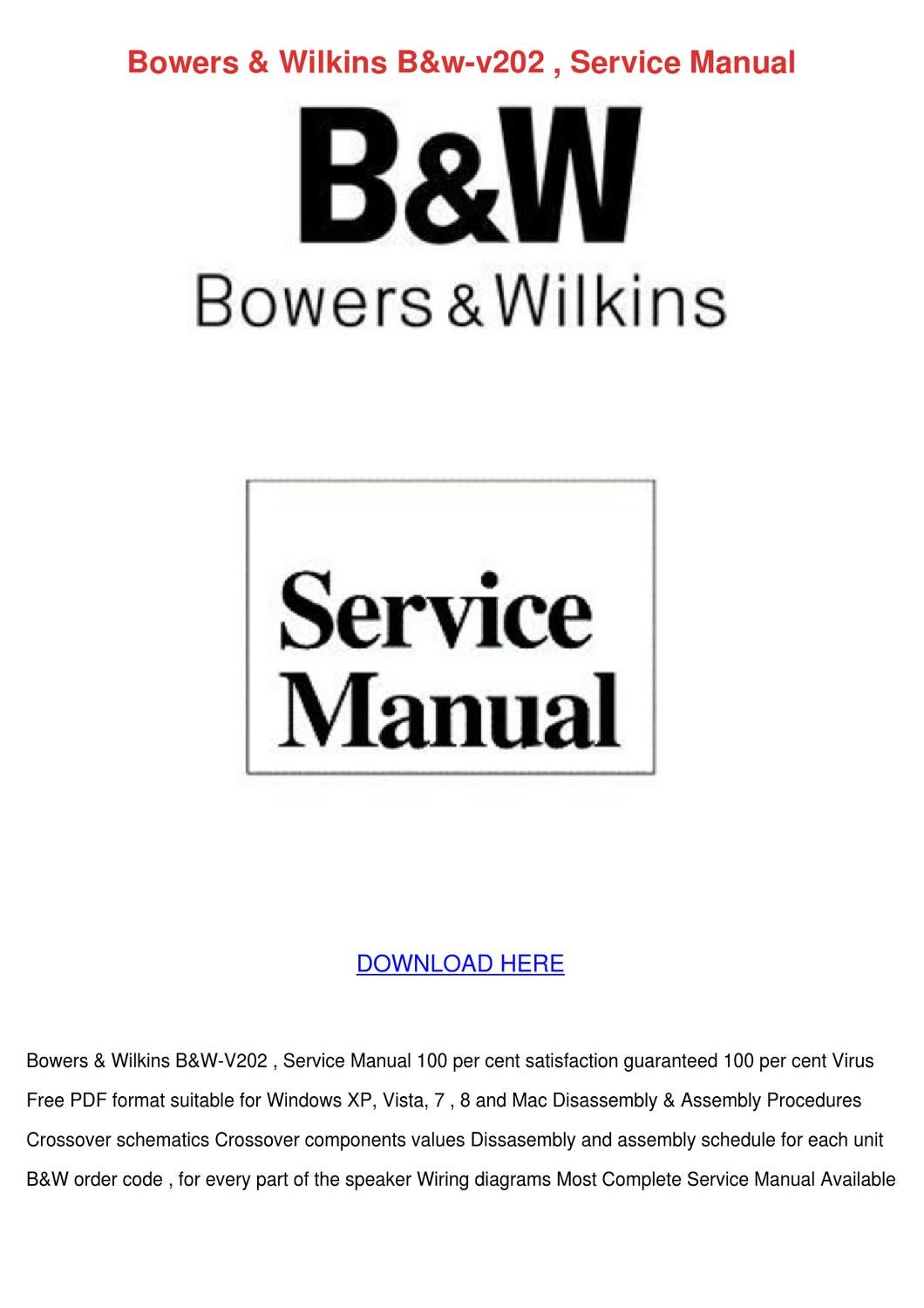Bowers Wilkins Bw V202 Service Manual By Katlynjacobsen