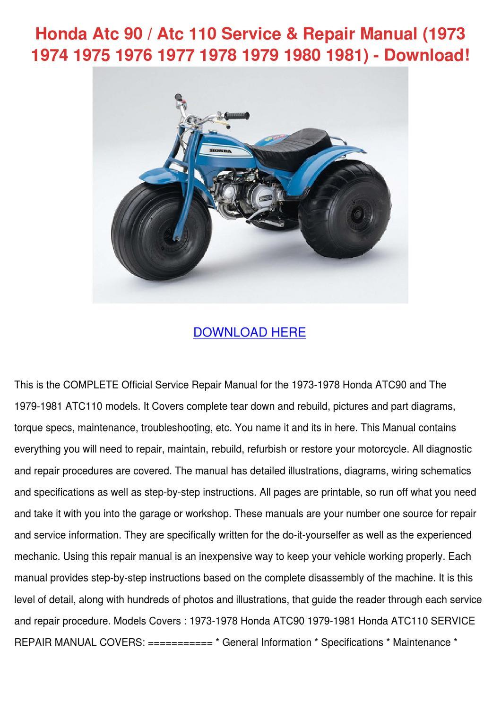 Honda Atc 90 Atc 110 Service Repair Manual 19 By