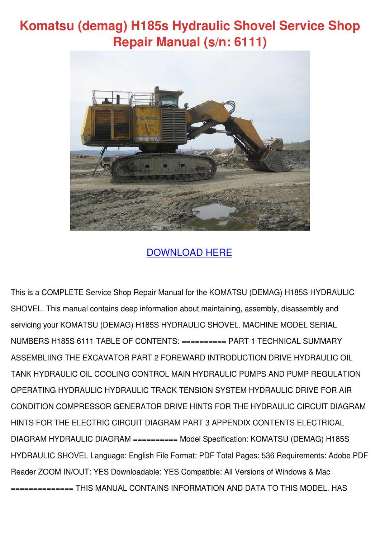 Komatsu Demag H185s Hydraulic Shovel Service By Mattiemccabe