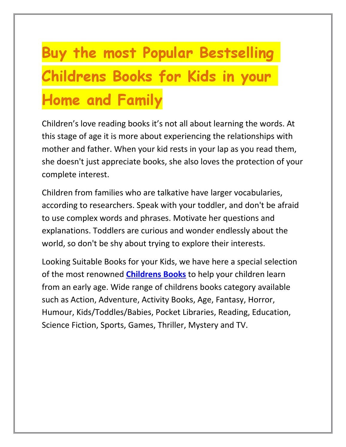 Buy The Most Popular Bestselling Childrens Books For Kids In Your