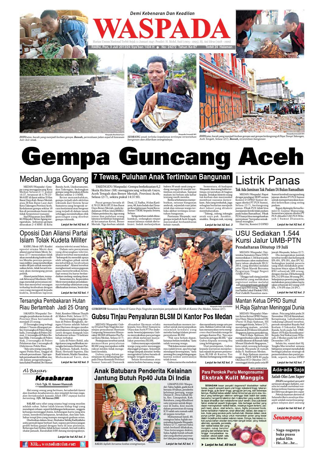 Waspada Rabu 3 Juli 2013 By Harian Issuu Produk Umkm Bumn Bolu Gulung Hj Enong